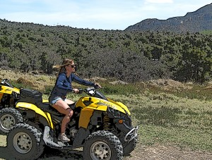 Riding like a willies (as the SEAL's say) on my ATV Quad.