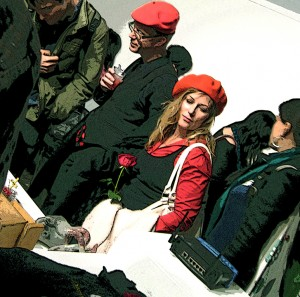 It's a tradition when Yves and I are together, the red berets.